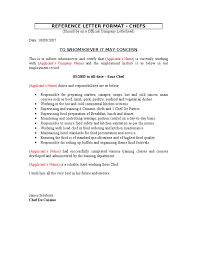 5 Reference Letter Format Chefs