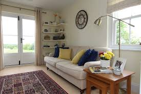 Gorgeous Floating Corner Shelves In Living Room Traditional With Wooden Interior Decoration Next To Cream Leather