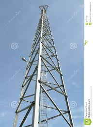 steel cell phone tower against blue sky