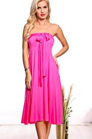 fuschia solid infinity multi ways strapless long casual dress cute