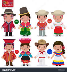 Kids In Different Traditional Costumes Bolivia Ecuador Peru Venezuela