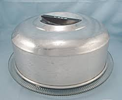 Kromex – Cake Plate and Cover 2 Spun Aluminum Cake Stands