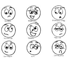 Smiley Face With Different Emotions Coloring Pages