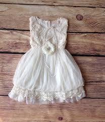 Ivory Toddler Girls Dress Vintage Flower Girl Rustic Wedding Birthday Beach