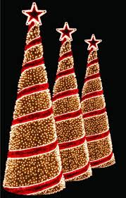 Set Of 3 Clear Lighted Outdoor Spiral Walkway Christmas Trees With Tree