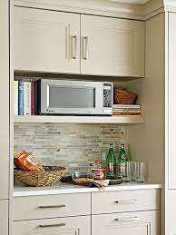 Wood Wall Mounted Microwave Storage Under Cabinet Painted With
