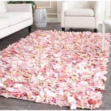 Safavieh Rio Shag Ivory Pink 5 ft x 8 ft Area Rug SG951P 5 The