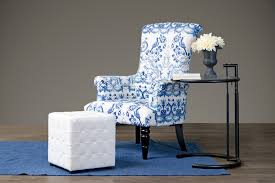 stylish blue and white accent chair with wholesale interiors