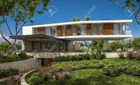 100 Summer Hill Garage 3d Rendering Of Modern Cozy House On The Hill With Garage And