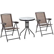 Buy Outsunny 3 Piece Metal Patio Furniture Set Folding Chairs ... Crosley Griffith Outdoor Metal Five Piece Set 40 Patio Ding How To Paint Fniture Best Pick Reports Details About Bench Chair Garden Deck Backyard Park Porch Seat Corentin Vtg White Mid Century Wrought Iron Ice Cream Table Two French White Metal Patio Chairs W 4 Chairs 306 Mainstays Jefferson Rocking With Red Choosing Tips For At Lowescom