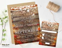 Rustic Wedding Invitation Fall Invite Country