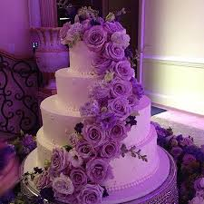 Purple Floral Arrangement Wedding Cake Sweet Memories Bakery