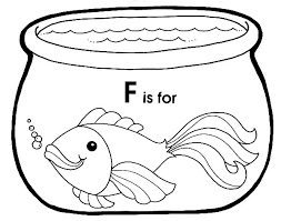 Fish Bowl F Is For In Coloring Page