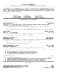 Resume Examples College Students New For Internship Undergraduate Sample Of