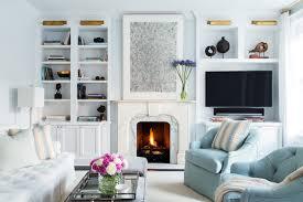blue living room design transitional living room