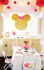 Pink And Gold Birthday Themes by Glittery U0026 Glam Minnie Mouse Birthday Party Hostess With The