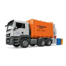 Man TGS Garbage Truck Orange - Vehicle Toy By Bruder Trucks (03762 ...