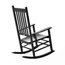 Outsunny Porch Rocking Chair - Outdoor Patio Wooden Rocking Chair (Black)