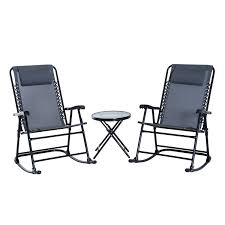 Outsunny 3 Piece Outdoor Rocking Chair Patio Table Seating Set Folding -  Grey Gci Outdoor Freestyle Rocker Portable Folding Rocking Chair Smooth Glide Lweight Padded For Indoor And Support 300lbs Lacarno Patio Festival Beige Metal Schaffer With Cushion Us 2717 5 Offrocking Recliner For Elderly People Japanese Style Armrest Modern Lounge Chairin Outsunny Table Seating Set Cream White In Stansport Team Realtree 178647 Wooden Gci Ozark Trail Zero Gravity Porch