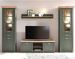 lomadox wohnzimmer wohnwand im landhausstil grün mit wotan