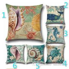 24 X 24 Patio Cushion Covers by 18 Styles Star Fish Cushion Cover Ocean Red Coral Sea Horse Retro