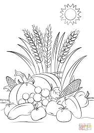 Harvest Coloring Pages Fall Page Free Printable Drawing