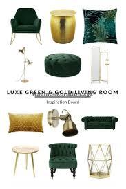 room decor luxe grün und gold wohnzimmer inspiration board