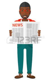 Une Femme Afro Américaine En Lisant Le Journal Un Journaliste Afro Américaine Heureux Lisant Le Journal Avec