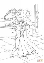 Download Flynn And Rapunzel Are Dancing Coloring Page