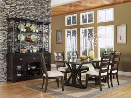 Amazing Black Wood Dining Room Buffet Ideas With Stone Wall And Chairs Plus Square