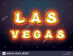 las vegas sign with glowing lights retro label with light bulb