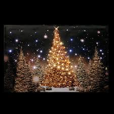 Mini Fibre Optic Christmas Tree by Christmas Tree Scene Fibre Optic Lit Wall Canvas Battery Operated