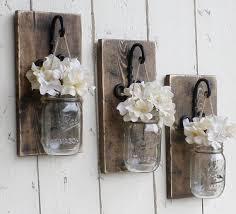 Wood Wall Decor3 Individual Hanging Mason Jars