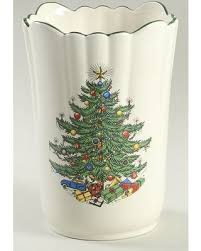 Cuthbertson Christmas Tree Narrow Green BandCream Vase Fine China Dinnerware