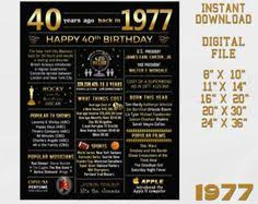 40th Birthday Decorations Canada by 1977 40th Birthday Chalkboard Sign Canadian Version 1977 Facts