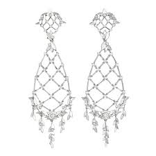 Laurel Leaf Flexible Chandelier Earrings In 18k White Gold With Round Cut Diamonds And Clip Top 112 Total Carats Of Backs Posts