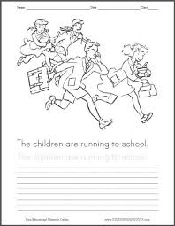Children Running To School Coloring Page For Kids