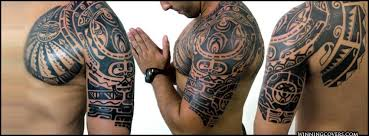Tribal Mayan Tattoo On Man Shoulder And Half Sleeve