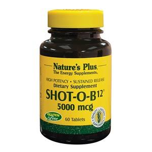 Nature's Plus Shot-O-B12 5000Mcg Dietary Supplement - 30 Tablets
