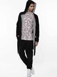 buy koovs long length hoodie for men men u0027s black hoodies online