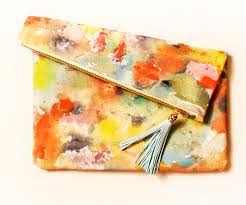 handmade clutch purse beautiful soft suede and shabby chic floral