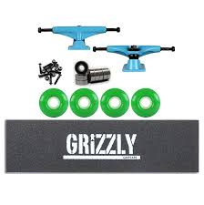 Tensor Skateboard TRUCKS Kit Magnesium BLUE GRIZZLY STAMP GRIP ...