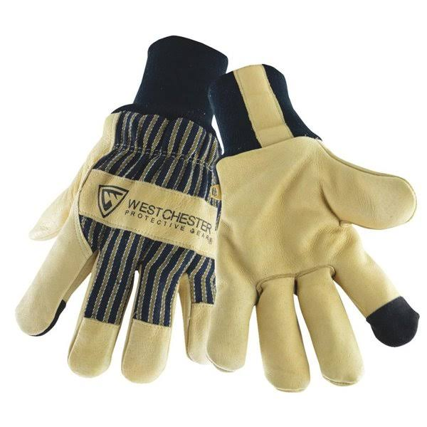 West Chester 97900 Pigskin Leather Palm Winter Work Glove - Beige, Large