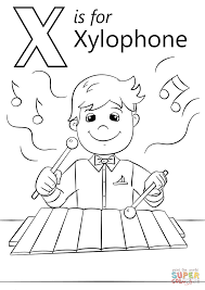 Xylophone Coloring Page Letter X Is For Free Printable Drawing