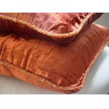 Pier One Decorative Pillows by Amazon Com Designer Rust Accent Pillows Velvet Beaded Cord Throw
