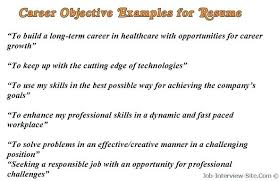 Job Objective For Resume Examples Career Freshers