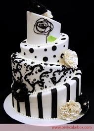 Black And White Topsy Turvy Elegant Wedding Cake