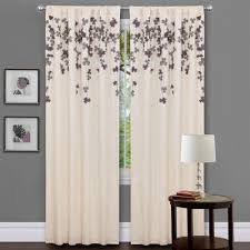 Lush Decor Window Curtains by Lush Decor Ivory Purple Faux Silk 84 Inch Flower Drop Curtain