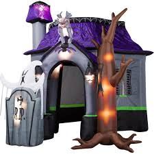 airblown halloween inflatable haunted house with dead tree rising
