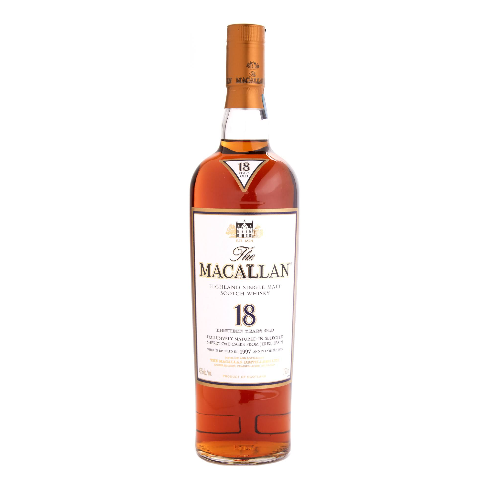 The Macallan 18 Year Highland Single Malt Scotch Whiskey - 750 ml bottle